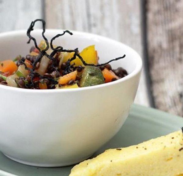 Linsensalat mit Hijiki und Süßkartoffel