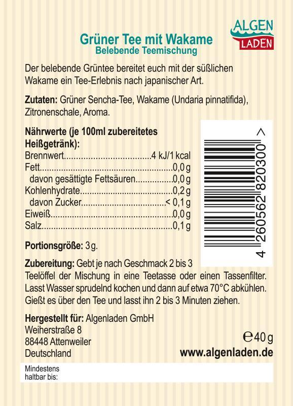 Grüner Tee mit Wakame - Etikett
