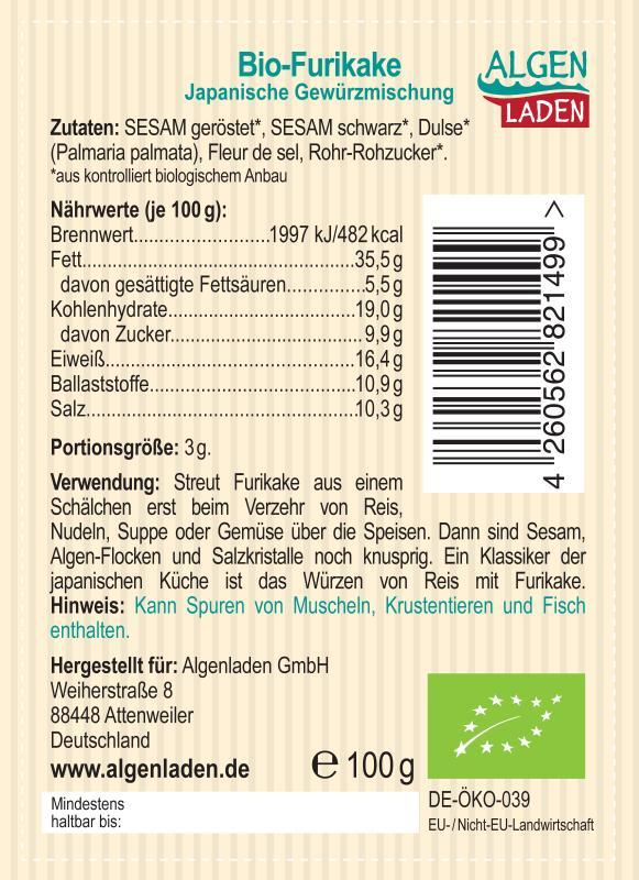 ALGENLADEN BIO Furikake Etikett