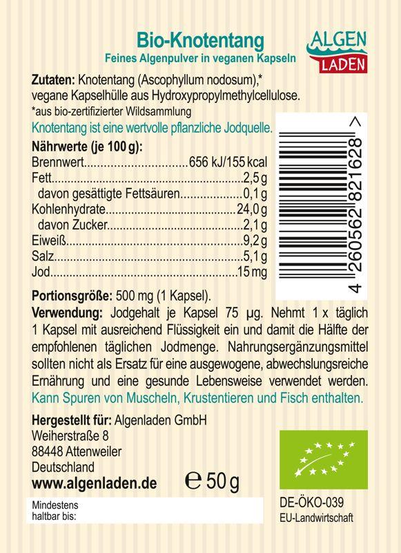 ALGENLADEN BIO Knotentang Kapseln Etikett