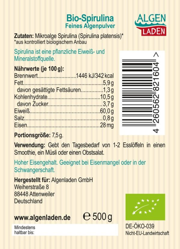 ALGENLADEN Bio Spirulina Pulver Etikett