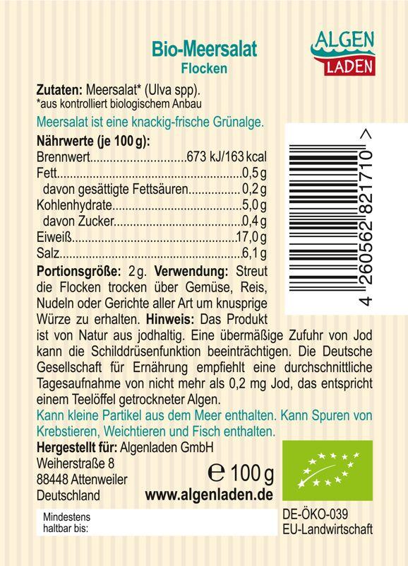 ALGENLADEN BIO Meersalat Flocken 100g Etikett