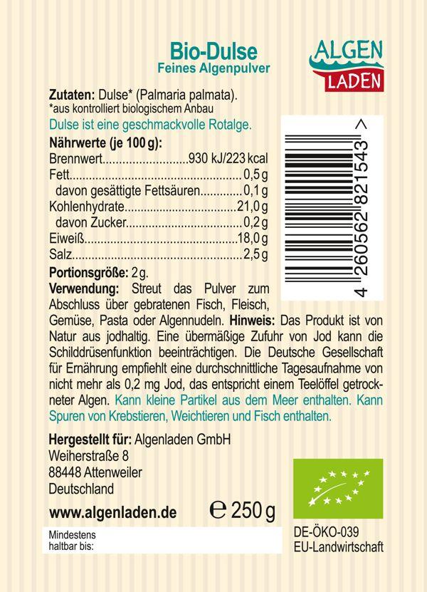 Dulse Pulver 250g Etikett