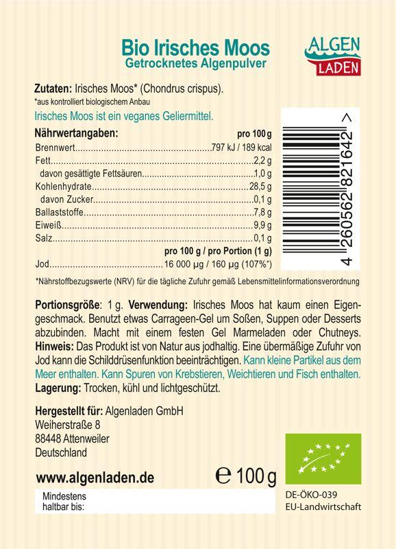 ALGENLADEN BIO Irisches Moos Pulver Etikett